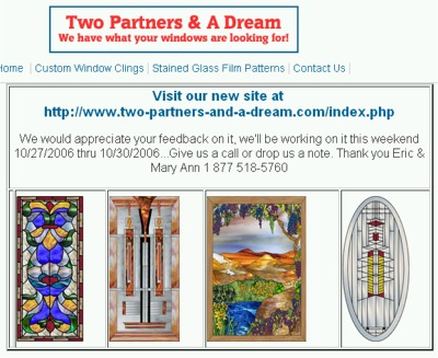 Two Partners & A Dream Free Window Cling Samples - US