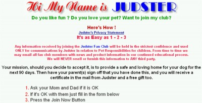 Judsters Fan Club Free Certificate by Mail and Free Gift - US