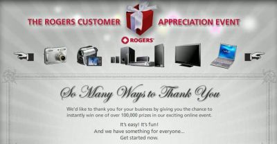 Rogers Customer Appreciation Event to Win Free Prizes - Rogers Customers Only, Canada