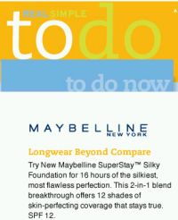 Real Simple Rewards Free Maybelline New York SuperStay Silky Foundation - Canada and US