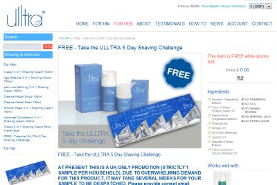 Ulltra 5 Day Shaving Challenge Free Men's Shaving Cream Sample - UK