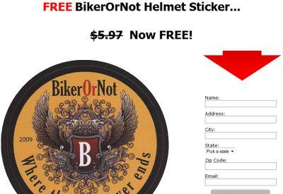 BikerOrNot Free Helmet Sticker - US