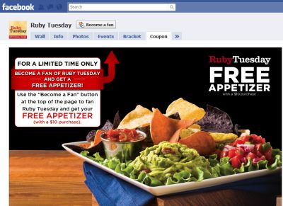 Ruby Tuesday Free Appetizer with a $10 Purchase Coupon When You Become a Facebook Fan