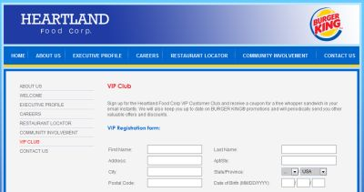 Heartland Food Corp. Heartland VIP Customer Club Free Whopper by Email - Selected Canadian and US Cities