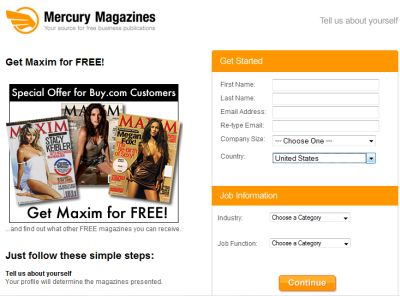 Mercury Magazines Free One-Year Subscription to Maxim Magazine - US
