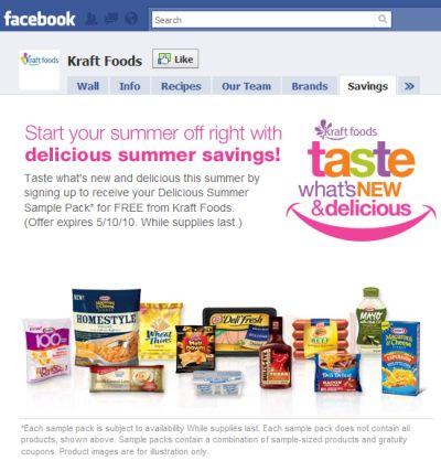 Kraft Foods Free Delicious Summer Sample Pack via Facebook - Exp. May 10, 2010, US