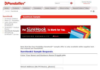 Pendaflex Free Sample of SureHook Folders - US