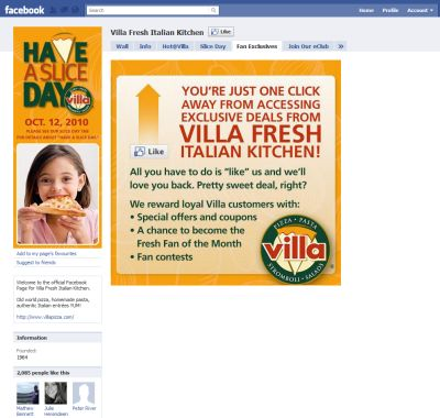 Villa Fresh Italian Kitchen Coupon for Special Offers