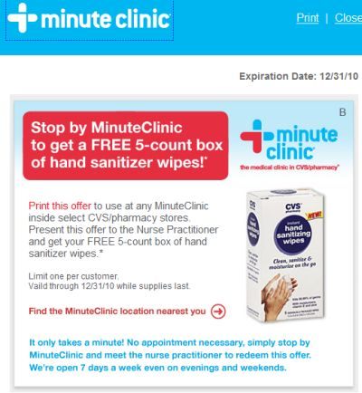 CVS/pharmacy Minute Clinic Printable Coupon for a Free 5-Count Box of Hand Sanitizer Wipes - Exp. December 31, 2010, US