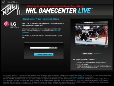 NHL GameCenter Live Free 15-day Trial from LG - First 10,000 Fans Only