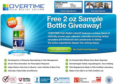 Overtime Pain Relief Lotion Free Sample - US