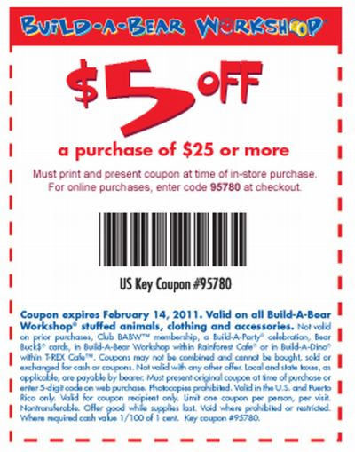 picture regarding Buildabear Coupon Printable identified as Acquire-A-Go through Workshop Free of charge Printable Coupon in direction of Conserve $5 off