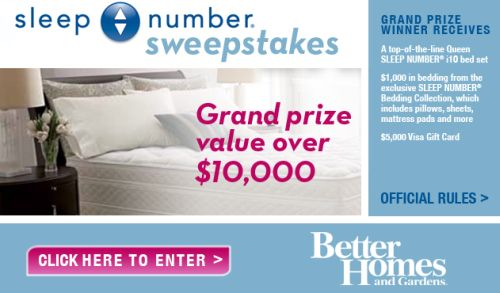 Better Homes and Gardens Sleep Number Sweepstakes Win a Bed Set and