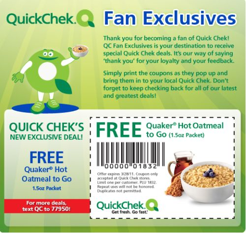 Quick Chek Free Coupon for a Free Quaker Hot Oatmeal to Go - Exp. March 28, 2011, US