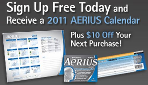 Aerius Allergy Medication Free 2011 Calendar and $10 Coupon Off Your Next Purchase - Canada