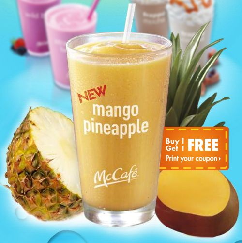 McDonald's US Free Printable Coupon to Buy 1 Get 1 of Free Mango Pineapple Smoothies - US