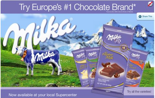 Walmart Free Printable Coupon for Buy One Get One Free Milka Chocolate Product - US