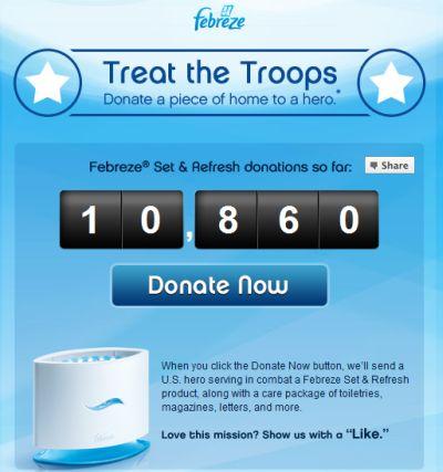 Febreze Set & Refresh Produce Free Donations to US Troops via Facebook