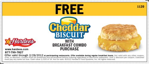 Hardee's Free Cheddar Biscuit with Breakfast Combo Purchase - Exp. February 29, 2012