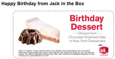 Free Printable Coupon for Free Dessert on Your Birthday at Jack in the Box