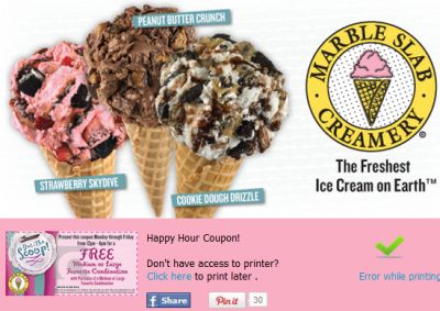 Happy Hour Coupon for Free and Discounted Marble Slab Creamery Ice-Cream Dessert via Facebook