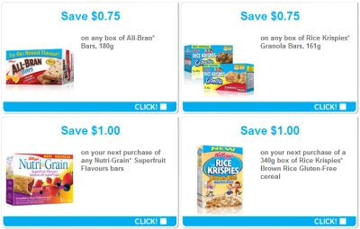 Free Money Saving Coupons on Kellogg's Products: All-Bran, Nutri-Grain, Special K, Rice Krispies and More from webSaver.ca - Canada