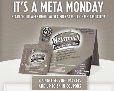 Free 4 Single-Serving Packets and Up to $4 in Coupons of Metamucil Fiber Supplement Meta Mondays Giveaway via Facebook