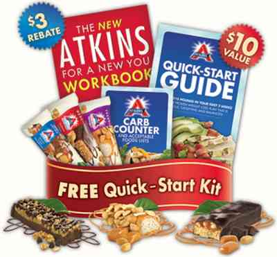 Atkins Free Quick Start Kit with 3 Free Atkins Bars, Free Pocket Carb Counter and More