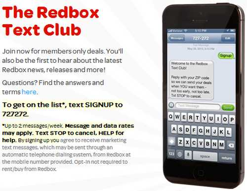 Redbox Offers via SMS Text Messages