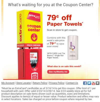 CVS/pharmacy ExtraCare Coupon Center Save 79 Cents off Paper Towels - Exp. March 29, 2014