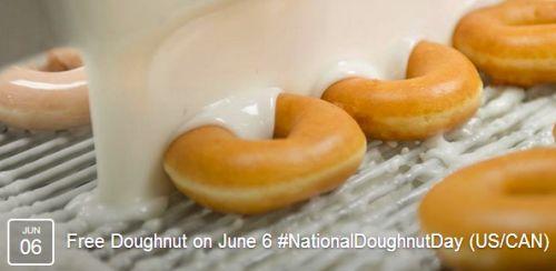 Krispy Kreme Doughnuts National Doughnut Day Free Doughnut on June 6, 2014, Canada and US