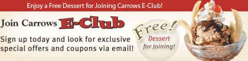 Carrows Restaurant Free Dessert for Joining E-Club - US