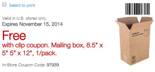 Staples Printable Coupon for a Free Mailing Box at 8.5