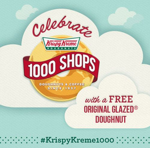 Krispy Kreme Celebrate 1,000th Doughnut Shop with a Free Donut on February 24, 2014