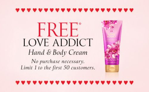 Victoria's Secret Free Love Addict Hand & Body Cream on February 8, 2015 to the First 50 Customers - US