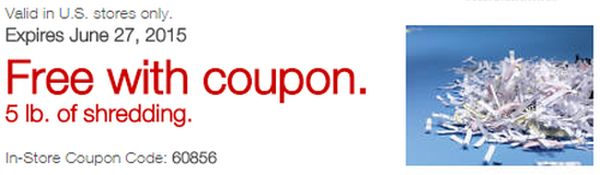 Staples Coupon for Free 5 Pounds of Document Shredding - Exp. June 27, 2015, US