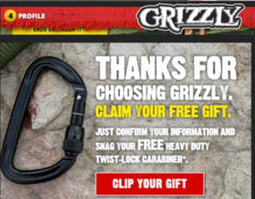 Grizzly Smokeless Tobacco Free Carabiner – US