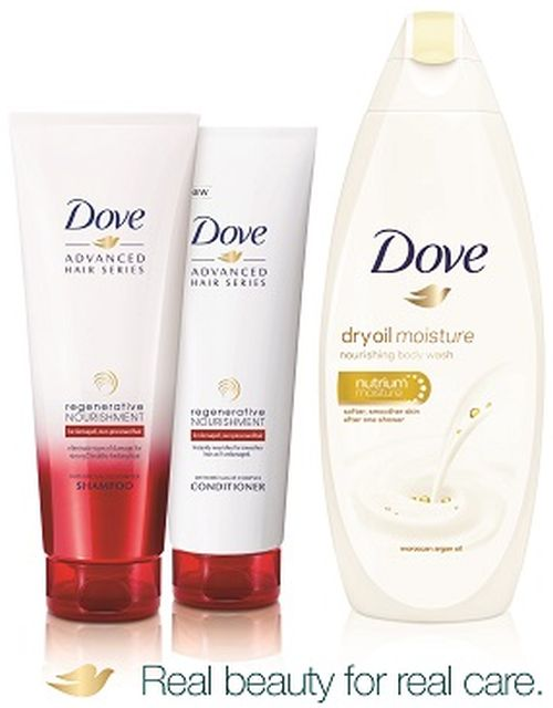 Dove Dry Oil Moisture Nourishing Body Wash, Dove Regenerative Nourishment Shampoo and Dove Regenerative Nourishment Conditioner