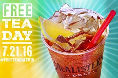 McAlister's Deli Free Tea Day Tea Freak