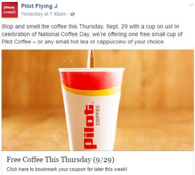 Pilot Flying J Coffee, Tea or Cappuccino