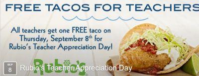 Rubio's Teacher Appreciation Day Tacos for Teachers
