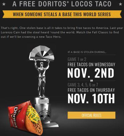 Taco Bell Free Doritos Loco Taco due to Francisco Lindor's Stolen World Series Base