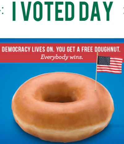 Krispy Kreme Doughnuts Doughnut on Election Day I VOTED