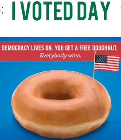 Krispy Kreme Doughnuts Doughnut on Election Day I VOTED