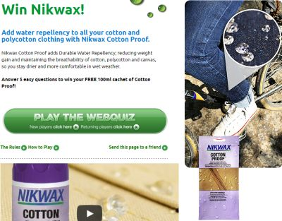 Nikwax Free Cotton Proof or BaseFresh Sample for Answering a Quiz