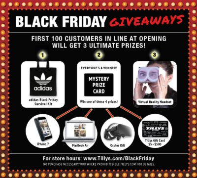 Tillys Black Friday Giveaways: First 100 Customers to Each Tillys Get an Adidas Survival Kit, a Mystery Prize Card and a Virtual Reality Headset