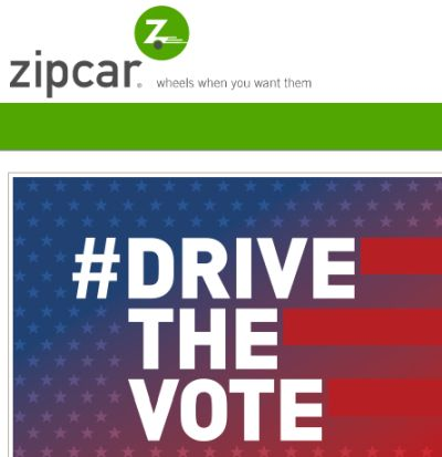Zipcar Car Rental on Election Day