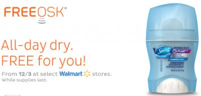 Freeosk Free Secret Outlast Deodorant Sample at Walmart - US