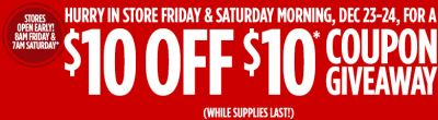 JCPenney Free $10 off of $10 Coupon on Friday and Saturday, December 23 - 24, 2016 Mornings