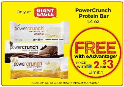 Giant Eagle end vantage Club Free PowerCrunch Protein Bar - US